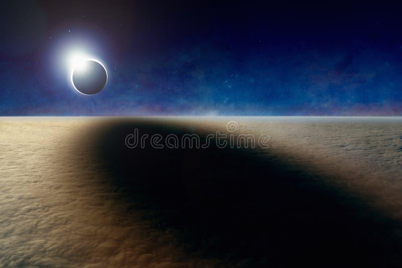 Luchtmening van totale zonneverduistering vector illustratie