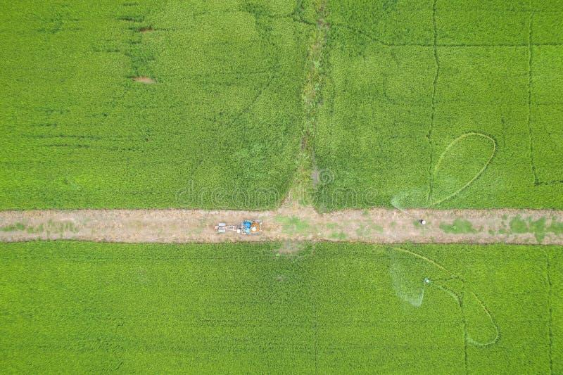 Luchtmening van Vliegende Hommel Thais landbouwers bespuitend chemisch product aan royalty-vrije stock afbeeldingen