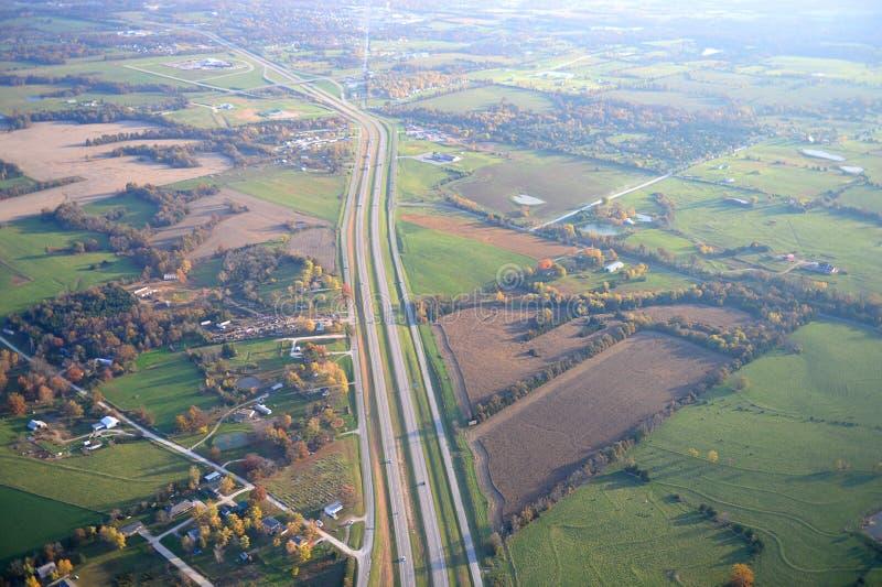 Luchtmening van Weg 70 in Missouri stock afbeelding