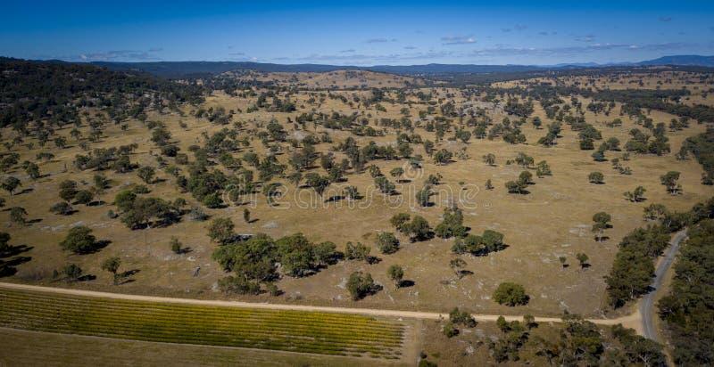 Luchtmening van wijngaarden en granietrotsen in Stanthorpe, Australië royalty-vrije stock foto