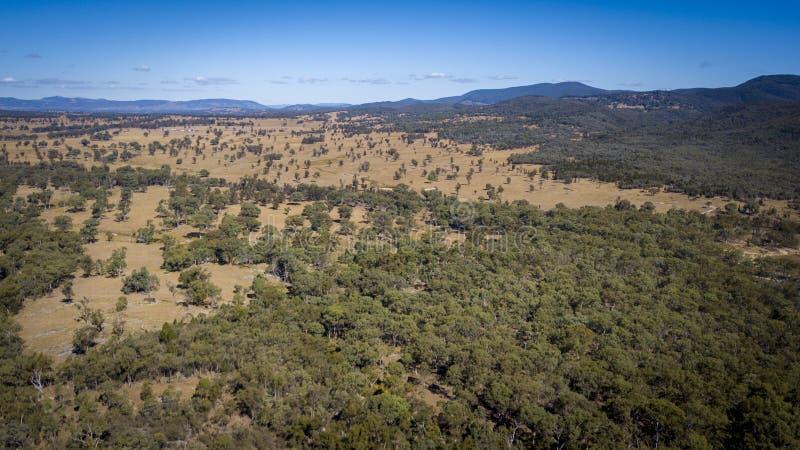 Luchtmening van wijngaarden en granietrotsen in Stanthorpe, Australië stock afbeeldingen