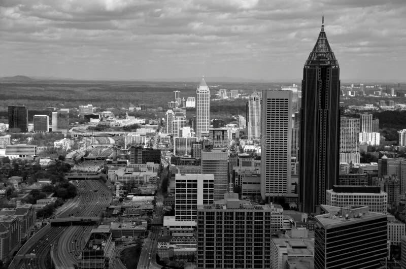 Luchtmening van wolkenkrabbers in Atlanta, Georgië stock fotografie
