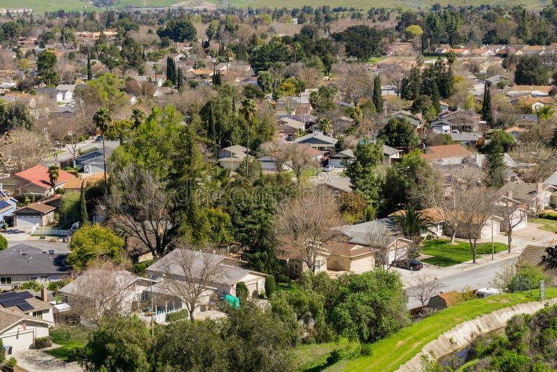 Luchtmening van woonbuurt in San Jose, baai de Zuid- van San Francisco, Californië stock foto