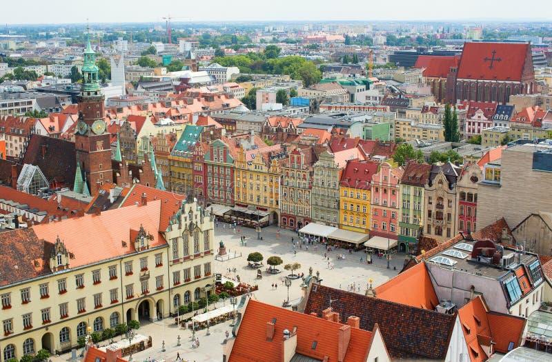 Luchtmening van Wroclaw stock afbeelding