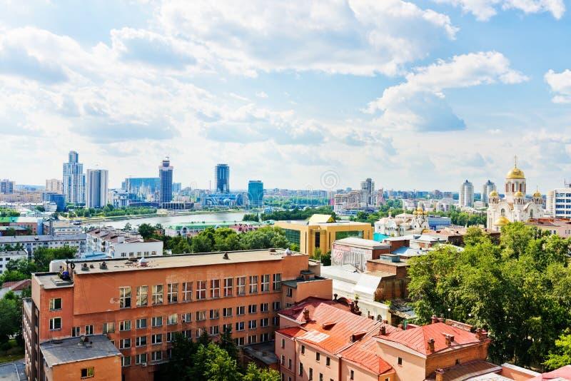 Luchtmening van Yekaterinburg op 26 Juni, 2013 royalty-vrije stock foto's