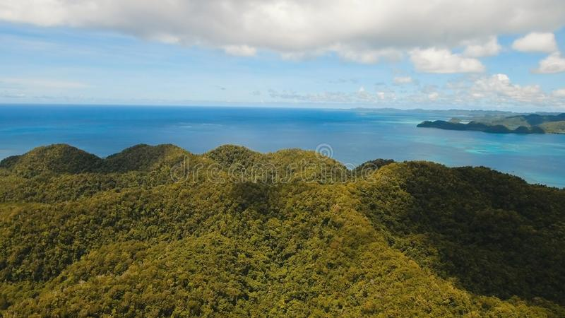 Luchtmenings tropische lagune, overzees, strand Tropisch Eiland Siargao, Filippijnen stock foto