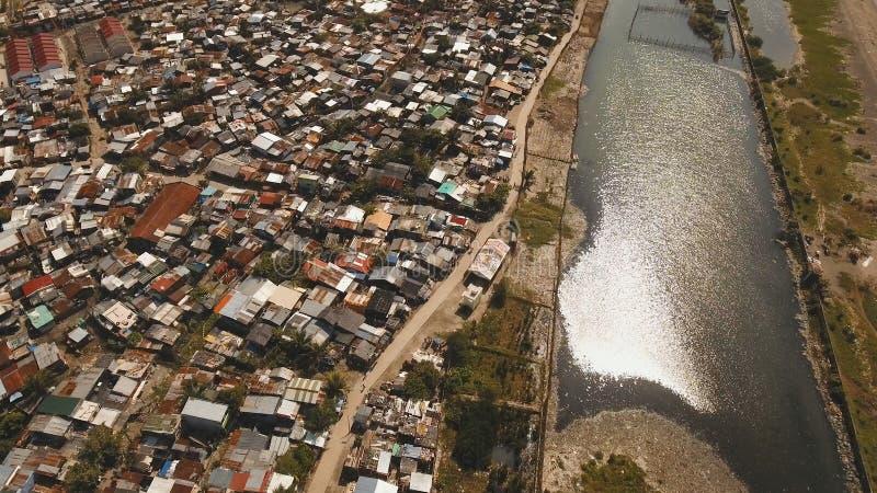 Luchtmeningskrottenwijken van Manilla, het slechte district Filippijnen, Manilla royalty-vrije stock foto