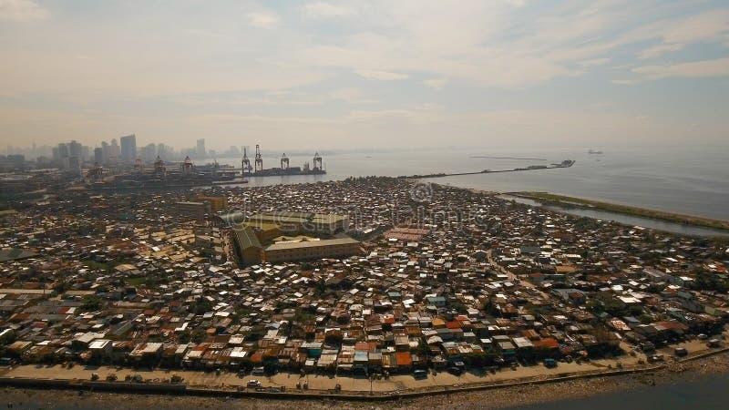Luchtmeningskrottenwijken van Manilla, het slechte district Filippijnen, Manilla royalty-vrije stock foto's