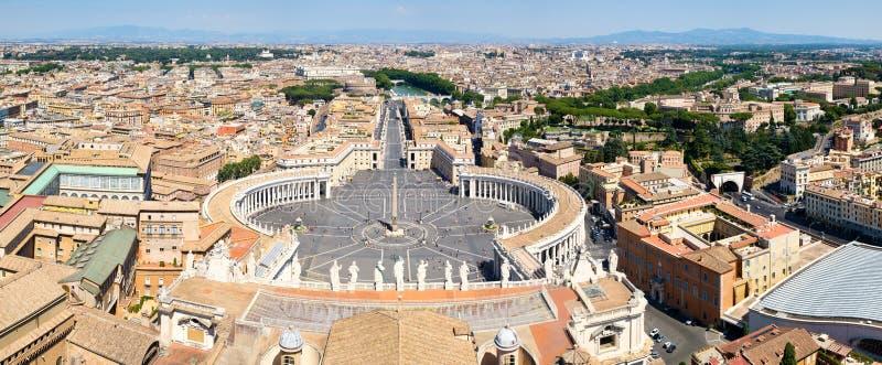 Luchtpanorama van centraal Rome met inbegrip van het Vierkant van Heilige Peter ` s en het Vatikaan stock afbeelding