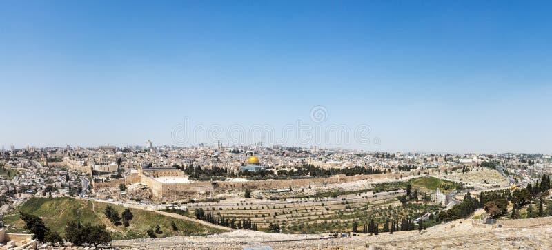 Luchtpanorama van de Oude Stad van Jeruzalem royalty-vrije stock foto's