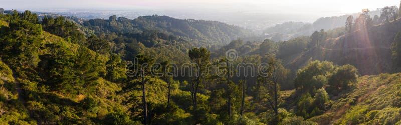 Luchtpanorama van Heuvels in de Baai van het Oosten, Noordelijk Californië stock foto