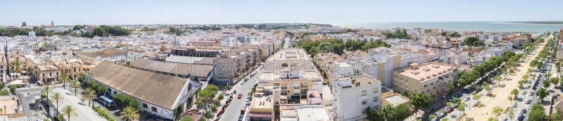 Luchtpanorama van Sanlucar DE Barrameda, Cadiz, Spanje stock foto's
