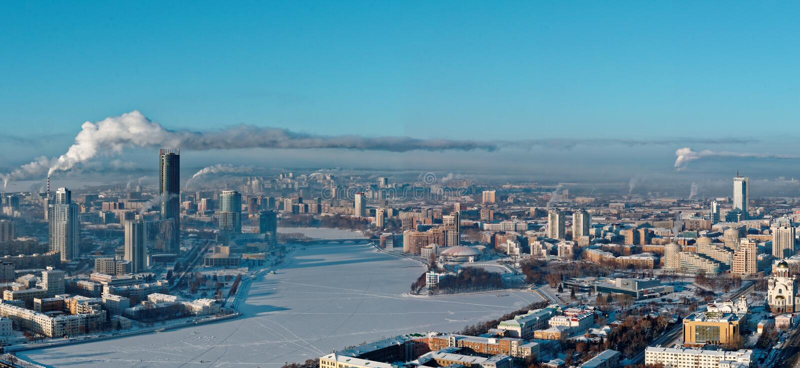 Luchtpanorama van Yekaterinburg, Rusland royalty-vrije stock foto's