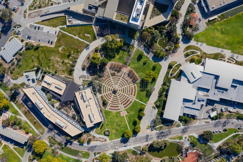Luchtplanmening van de mooie roze tuin van Cal Poly Pomona stock foto