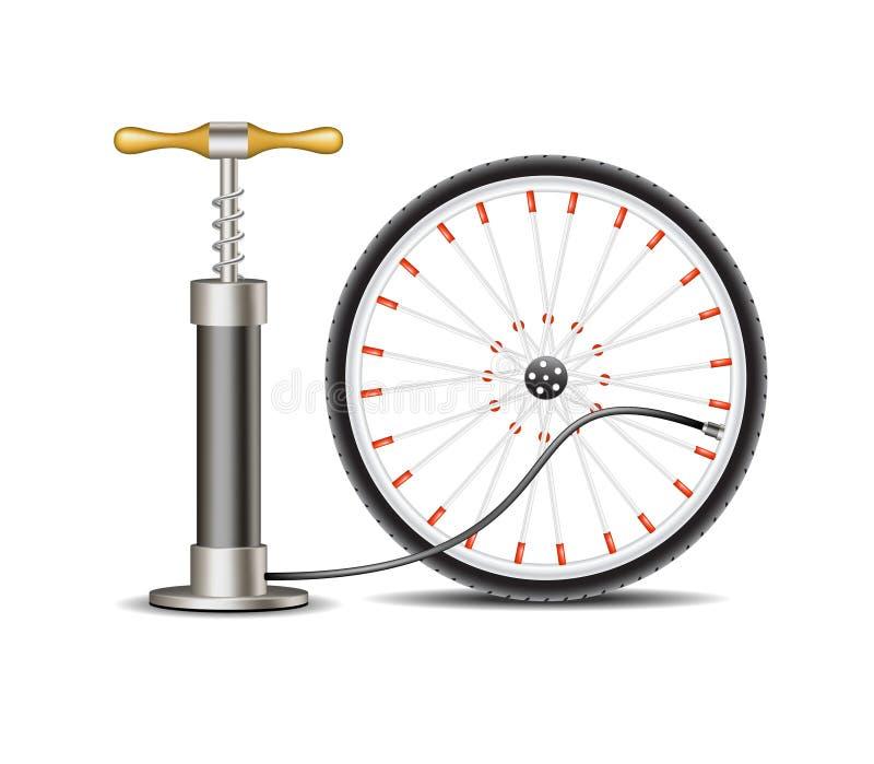 Luchtpomp met fietswiel royalty-vrije illustratie