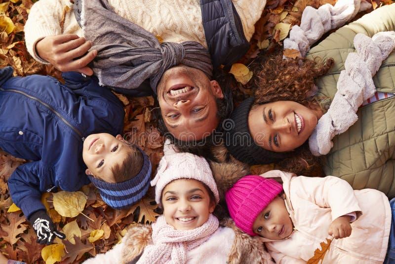 Luchtportret die van Familie in Autumn Leaves liggen royalty-vrije stock fotografie