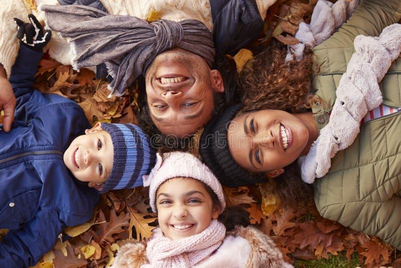 Luchtportret die van Familie in Autumn Leaves liggen royalty-vrije stock foto's