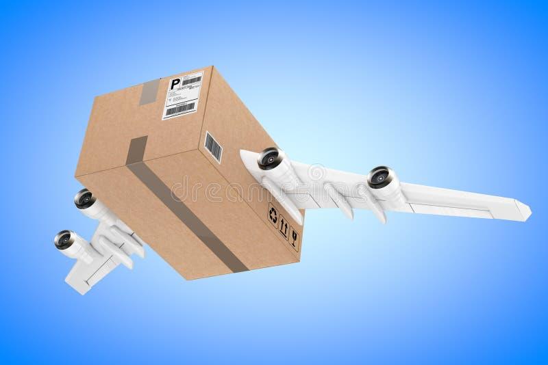 Luchtpost het Verschepen Concept Het Pakket van de kartondoos met Jet Engines vector illustratie