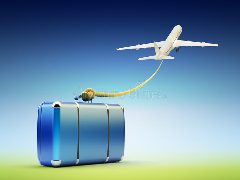 Luchtreis en toerisme, bagage en bagagevervoer vector illustratie
