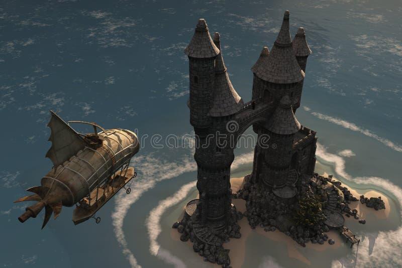 Luchtschip en het kasteel van het fantasieeiland royalty-vrije illustratie