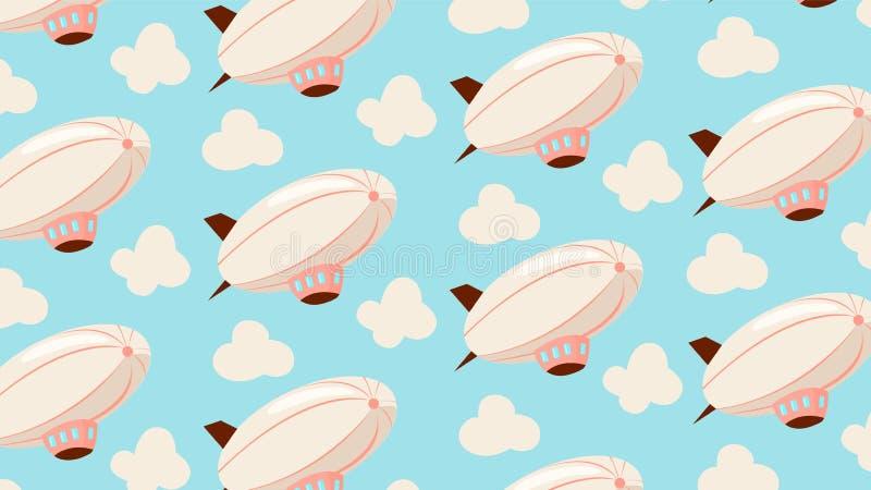 Luchtschip naadloos patroon vector illustratie