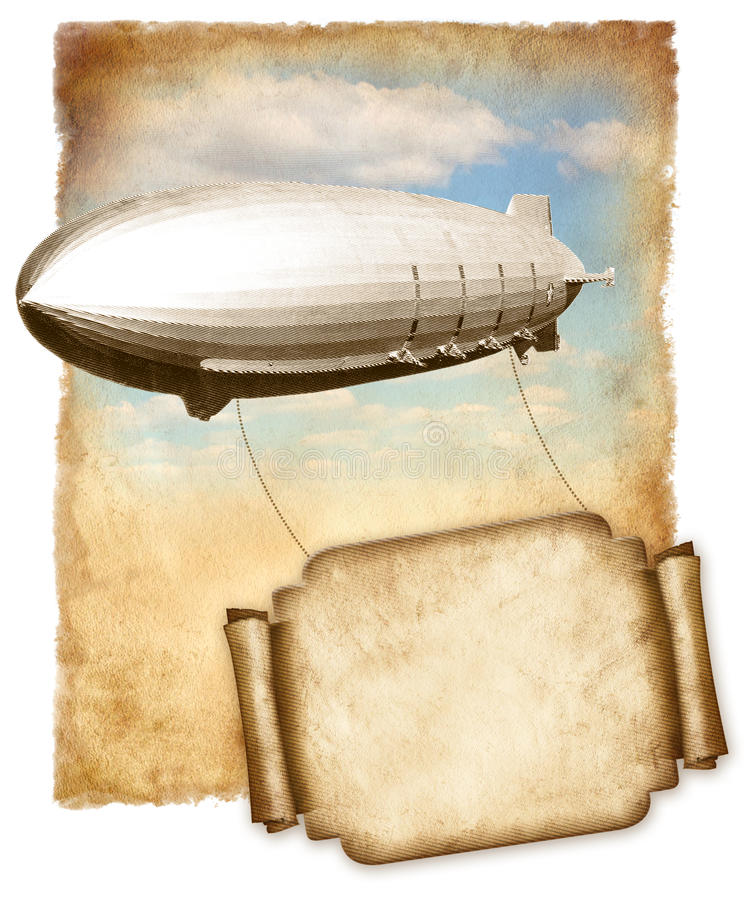 Luchtschip vliegende banner voor tekst over oud document, grafische wijnoogst. vector illustratie