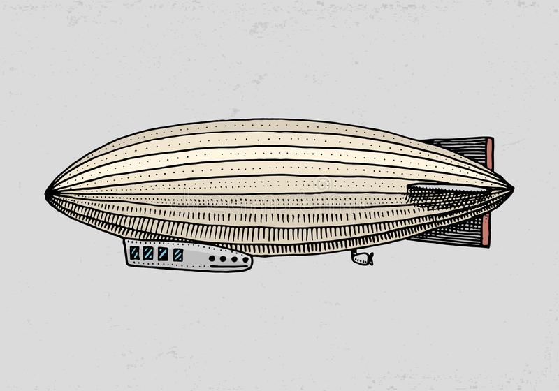 Luchtschip of zeppelin en dirigible of blimp Voor reis gegraveerde die hand in oude schetsstijl wordt getrokken, uitstekend vervo vector illustratie