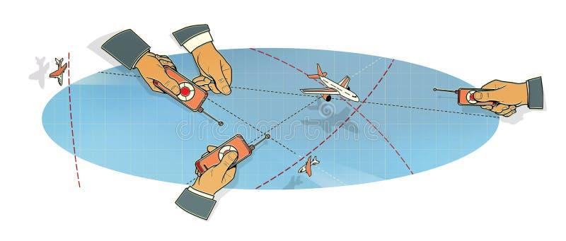 Luchtslag De handen van drie mensen met vliegtuigcontroleborden tijdens de vlucht, in piek en in een kromming onder wolken en lij vector illustratie