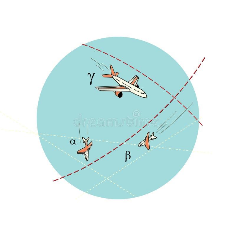 Luchtslag E Stijging en daling Tegen stock illustratie