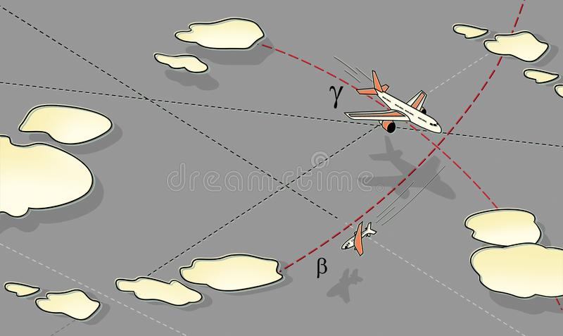 Luchtslag E Stijging en daling Tegen vector illustratie