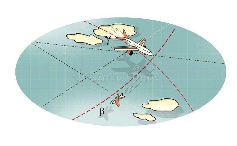 Luchtslag E Stijging en daling Tegen royalty-vrije illustratie
