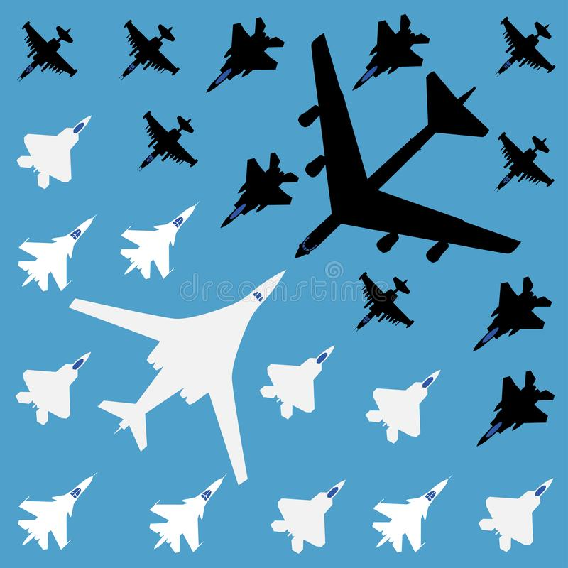 Luchtslag - naadloos patroon op een blauwe achtergrond Vector grafiek stock illustratie