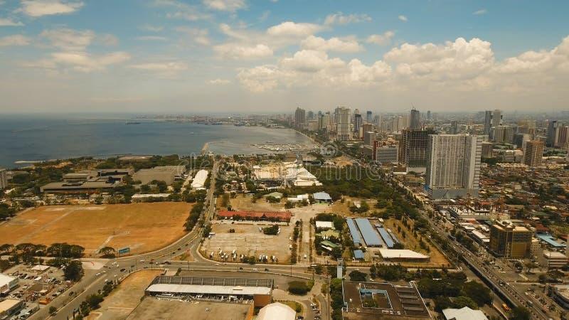 Luchtstad met wolkenkrabbers en gebouwen Filippijnen, Manilla, Makati royalty-vrije stock foto's