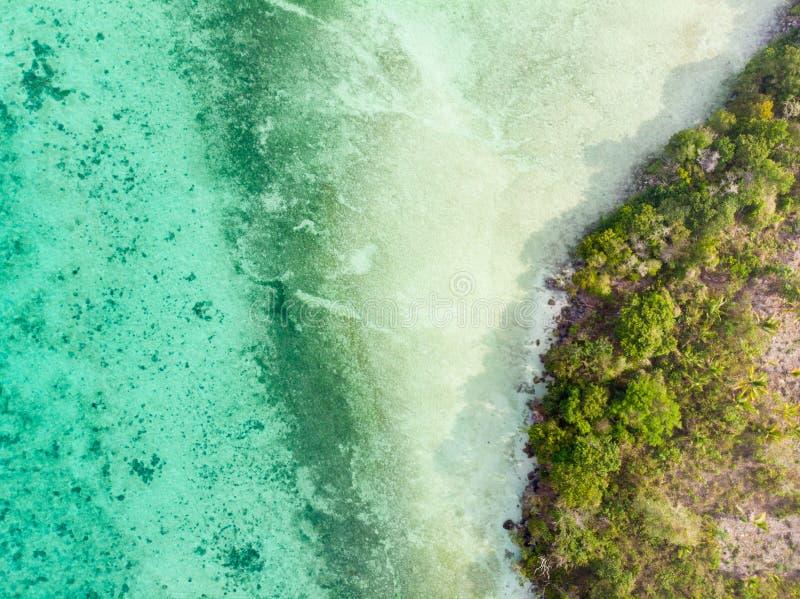 Luchttop down regenwoud van de de kustlijn van het menings het tropische paradijs oorspronkelijke bij Bair-Eiland De archipel van stock afbeelding