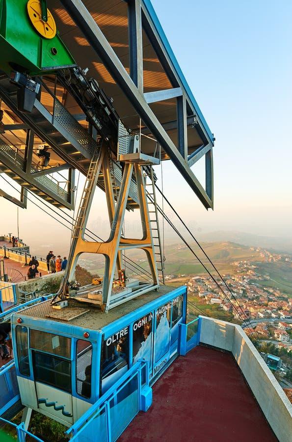 Luchttramspoor van San Marino aan Monte Titano royalty-vrije stock fotografie