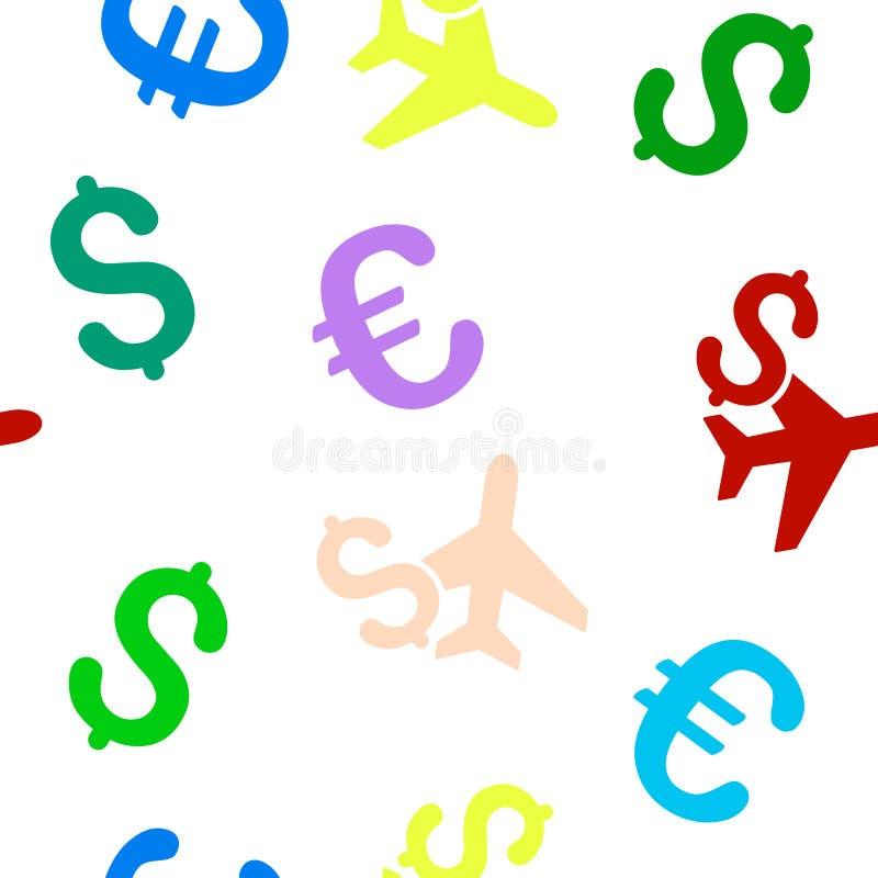 Luchtvaart Bedrijfs Naadloos Vlak Vectorpatroon royalty-vrije illustratie