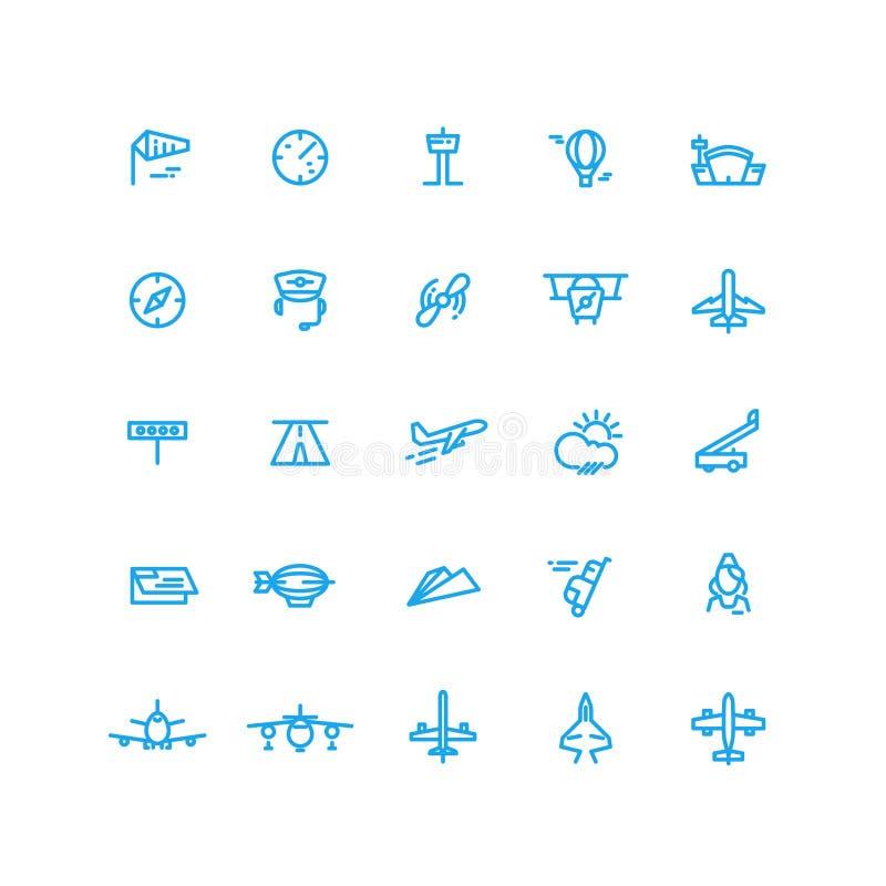 Luchtvaart en luchthaven geplaatste lijn vectorpictogrammen stock illustratie