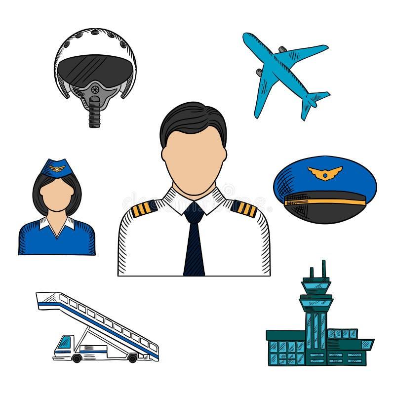 Luchtvaart en vliegtuigen de pictogrammen van de kleurenschets vector illustratie
