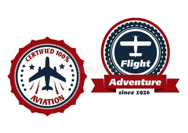 Luchtvaart en vluchtsymbolen stock illustratie