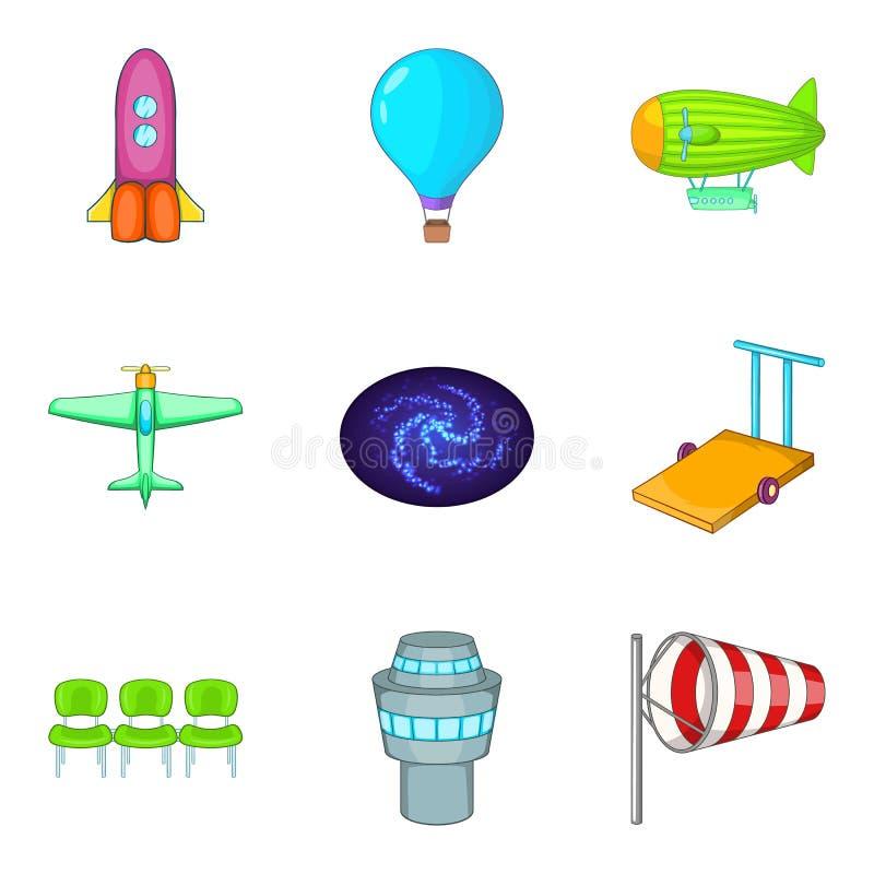 Luchtvaart geplaatste pictogrammen, beeldverhaalstijl stock illustratie