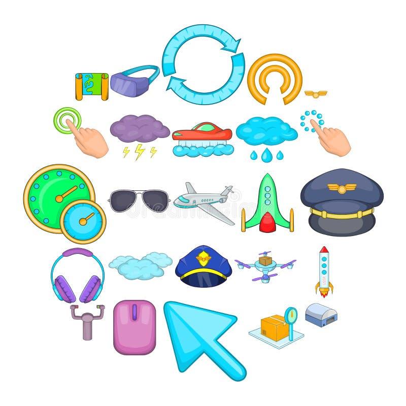 Luchtvaart geplaatste pictogrammen, beeldverhaalstijl vector illustratie