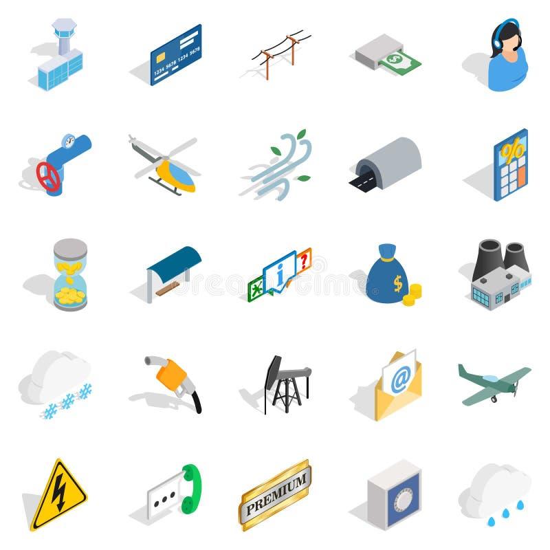 Luchtvaart geplaatste pictogrammen, isometrische stijl royalty-vrije illustratie