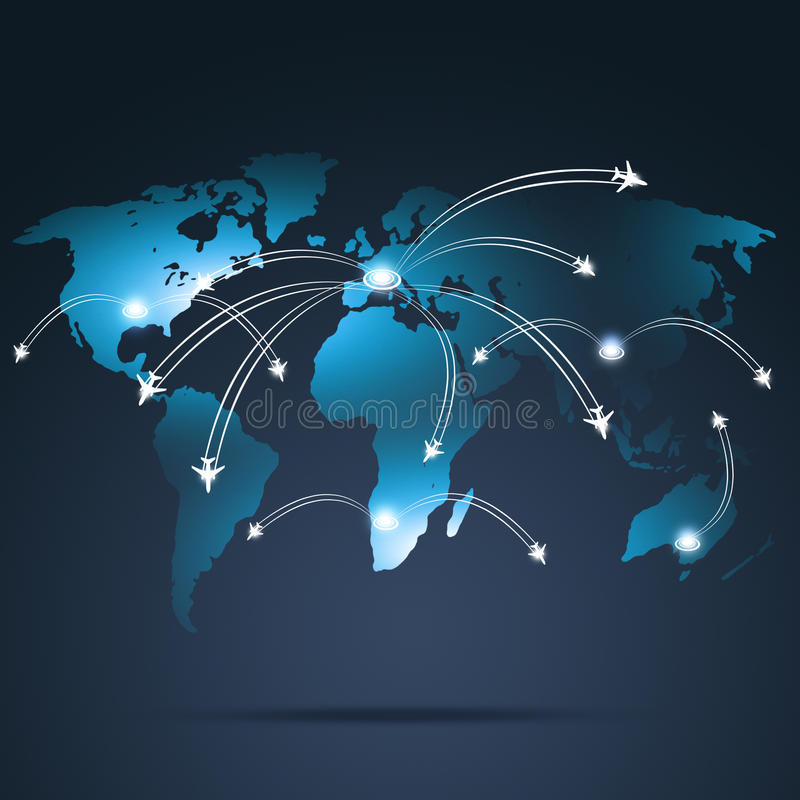 Luchtvaart Globale Bestemmingen royalty-vrije illustratie