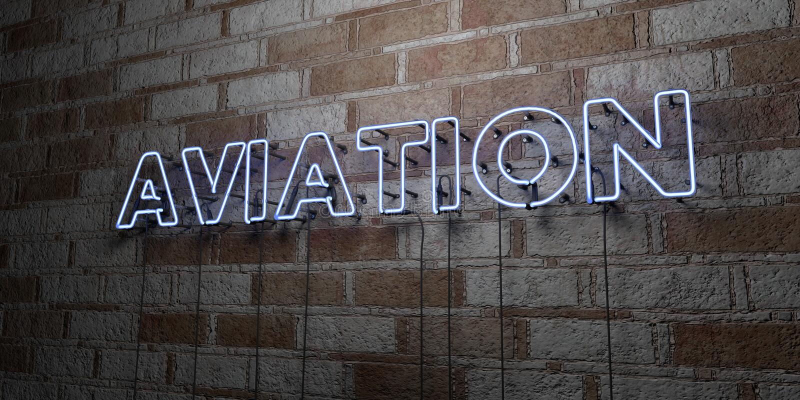 LUCHTVAART - Gloeiend Neonteken op metselwerkmuur - 3D teruggegeven royalty vrije voorraadillustratie stock illustratie