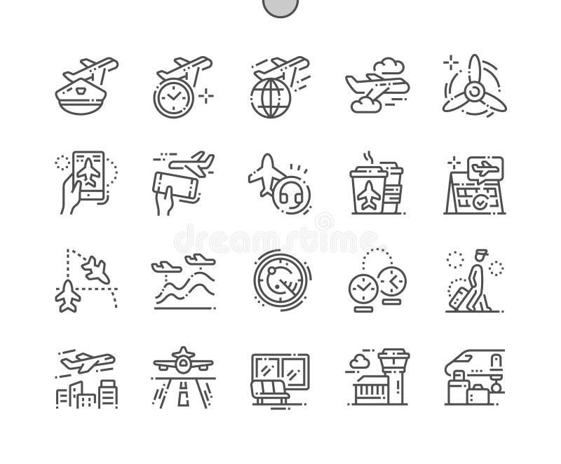 Luchtvaart goed-Bewerkte Pictogrammen 30 van de Pixel Perfecte Vector Dunne Lijn 2x-Net voor Webgrafiek en Apps stock illustratie