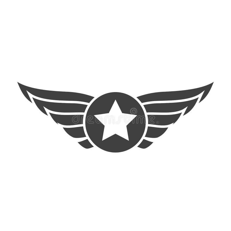 Luchtvaart grijs embleem, kenteken of embleem stock illustratie