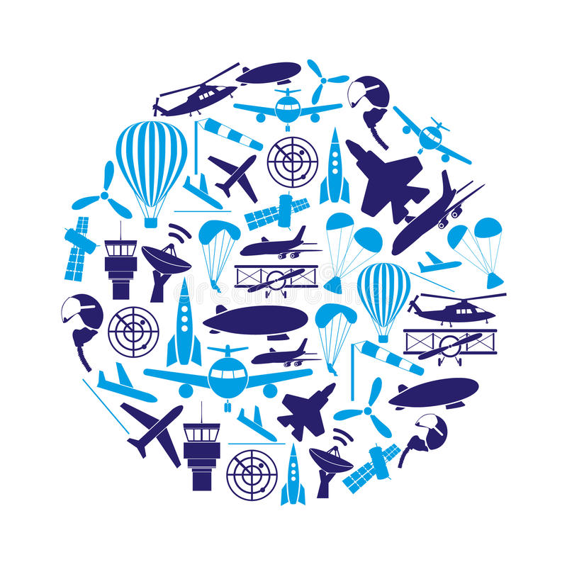 Luchtvaart grote reeks blauwe pictogrammen in cirkel vector illustratie