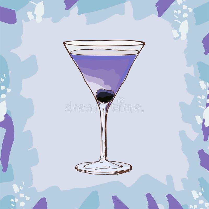 Luchtvaart, low-alcohol cocktailillustratie Marasquinstrengheid, zuurheid van citroen en jenever De alcoholische klassieke hand v royalty-vrije illustratie