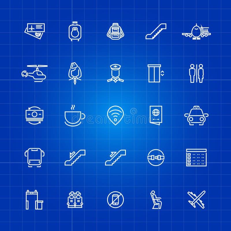 Luchtvaart of luchthavenoverzichtspictogrammen op blauwe achtergrond worden geplaatst die stock illustratie