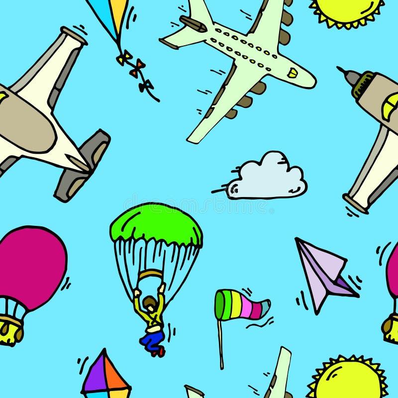 Luchtvaart naadloos patroon stock illustratie
